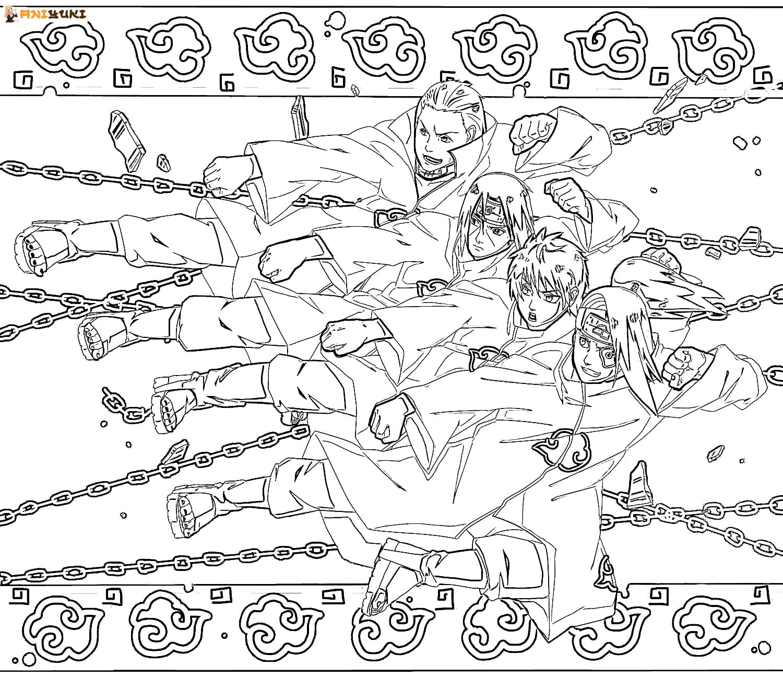 Ausmalbilder Akatsuki - Kostenlose Malvorlagen - AniYuki